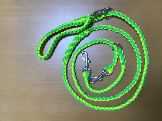 11ネオンイエロー×2セーフティグリーン 標準1.2m Wナスカン 編み込みハンドグリップ付き