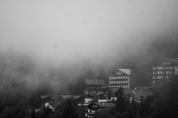 Fog sinking down into the valley after a rainy day.