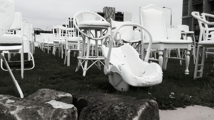 The 185 Empty White Chairs earthquake memorial in Christchurch.