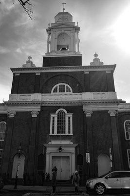 An old church in Boston's Little Italy in black and white