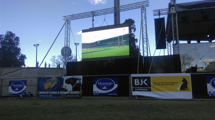 Watching the rugby match on the big screen...