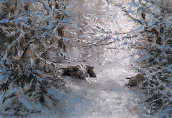"""Treibjagd"", Pastell, 17 x 23"