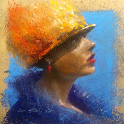 """""""Dame mit gelbem Hut"""", Pastell, 17 x 17"""
