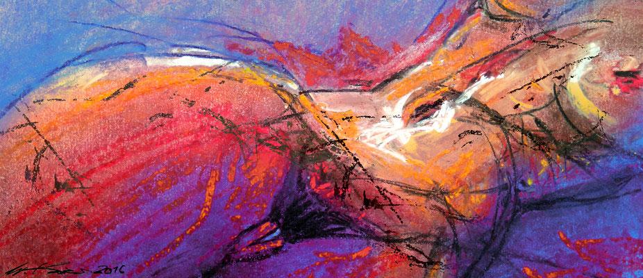 """""""Liegende"""", Pastell, 22 x 35 (40 x 50)"""