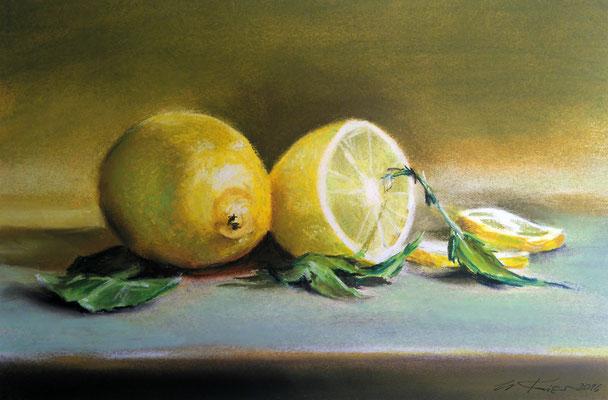 """""""Zitronen"""", Pastell, 23 x 34"""