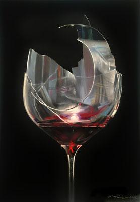 """""""Schade um den Wein"""", Pastell, 50 x 70"""