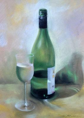 """""""Fasche mit Glas"""", Pastell, 36 x 26"""