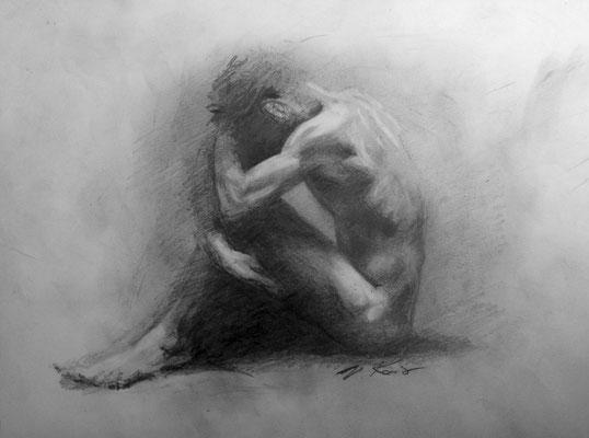 """""""Trauriger Typ"""", Bleistift, 18 x 24"""