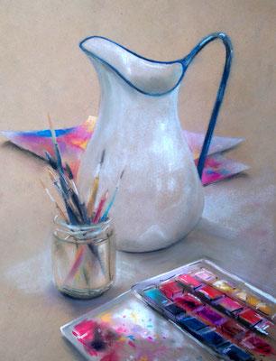 """""""Wasserkrug"""", Pastell, 45 x 35"""