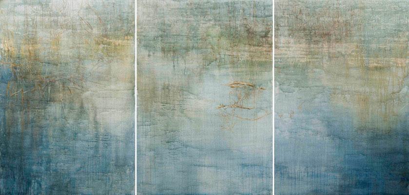 o.T., 2014 Mischtechnik auf Leinwand, Triptychon 270  x 130 cm