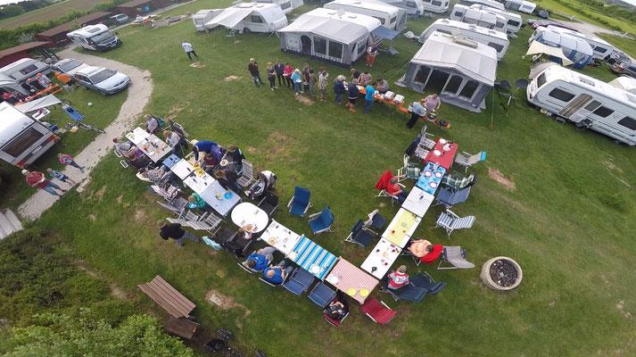 Aufnahme der Drohne vom grossen Essen