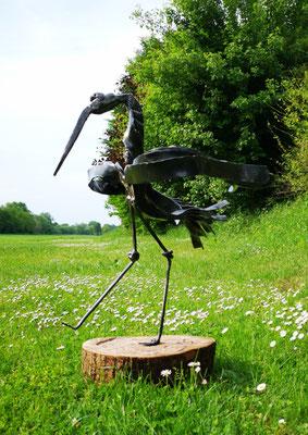 Metallskulptur / geschmiedeter Storch