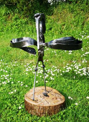Metallskulptur / geschmiedete Storch