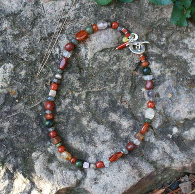 Carnelian, Jasper, and Other Gems with Sterling Toggle Clasp  $50