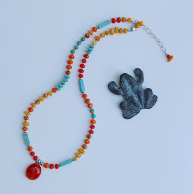 Coral, turquoise and sterling silver clasp  $55