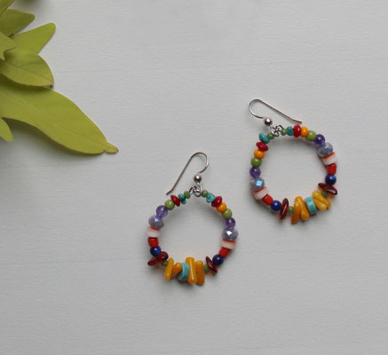 Multi gems and sterling silver ear wires  $25