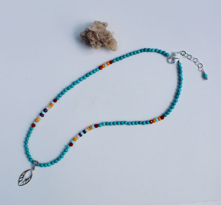 Turquoise, multi gems, sterling silver pendant and clasp  $50  SOLD