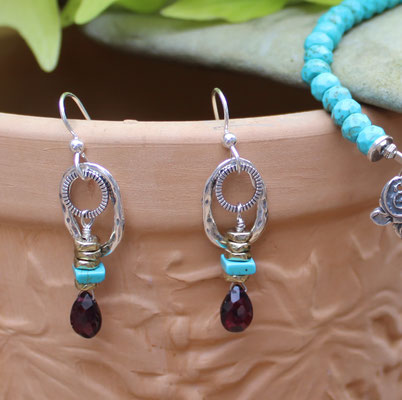 Garnet, turquoise, brass beads, sterling silver hoops and ear wires $35