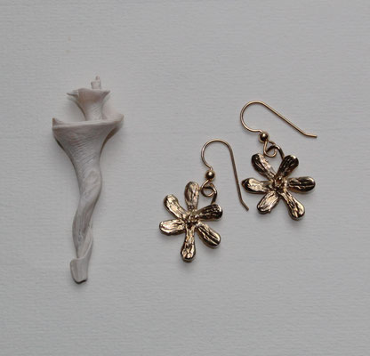 Stylized bronze plated flowers with 14kt gold filled ear wires  $25