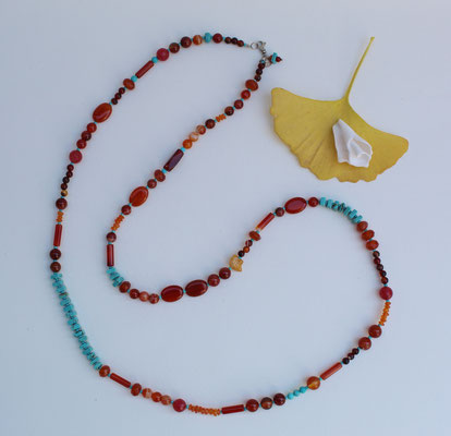 Carnelian, turquoise and sterling silver clasp  $65