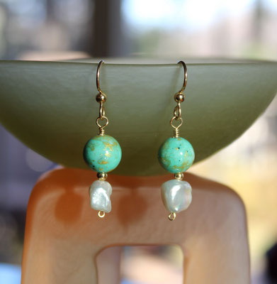Chinese jade (dyed), fresh water pearl, 14k gold filled ear wires  $25