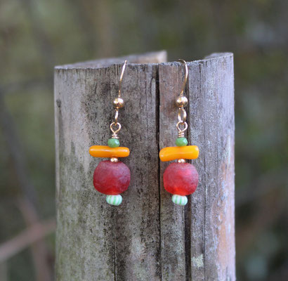 Vintage hand blown glass, yellow coral, turquoise with sterling silver ear wires  $25