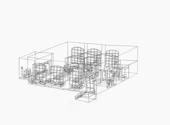 Klavierhaus / ENK . 2017 . Bleistift auf Papier . 30 x 40 cm