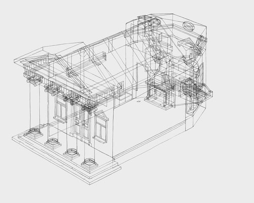 Park Georgium/Blumengartenhaus . 2019-2020 . Bleistift auf Papier . 40 x 50 cm