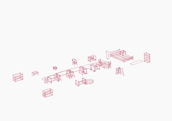 Möbelrücken 10/10 . 2018 . Farbstift auf Papier . 29,7 x 42 cm