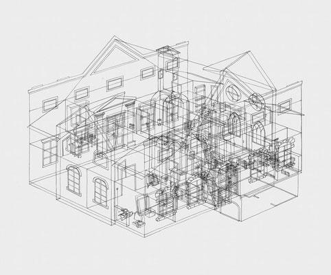 Park Georgium/Fremdenhaus . 2019-2020 . Bleistift auf Papier . 50 x 60 cm