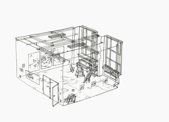 Studio Aika . 2016 . Bleistift auf Papier . 15 x 21 cm . Privatsammlung