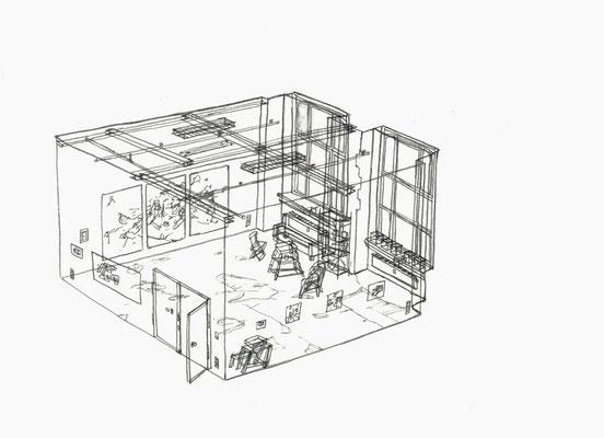 Studio Aika . 2016 . Bleistift auf Papier . 15 x 21 cm