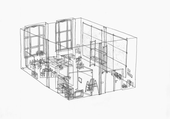 Atelier Silkeborg  . 2016 . Bleistift auf Papier . 21 x 30 cm