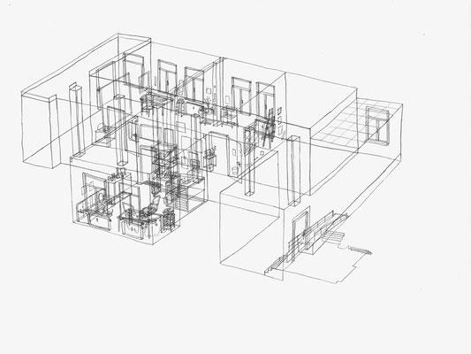 Atelier Schmidt & Büro B. Busenburg . 2017 . Bleistift auf Papier . 30 x 40 cm