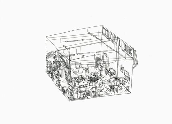 Atelier Erik . 2016 . Bleistift auf Papier . 15 x 21 cm