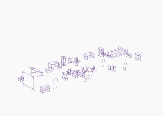 Möbelrücken 01/10 . 2018 . Farbstift auf Papier . 29,7 x 42 cm