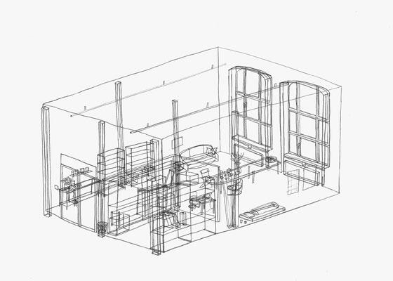 Atelier Jyrch . 2017 . Bleistift auf Papier . 21 x 30 cm