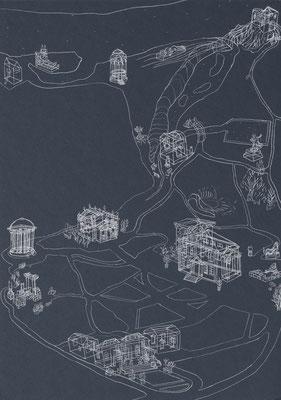 Park Georgium/Vorerinnerung . 2019-2020 . Bleistift auf Karton . 50 x 35 cm