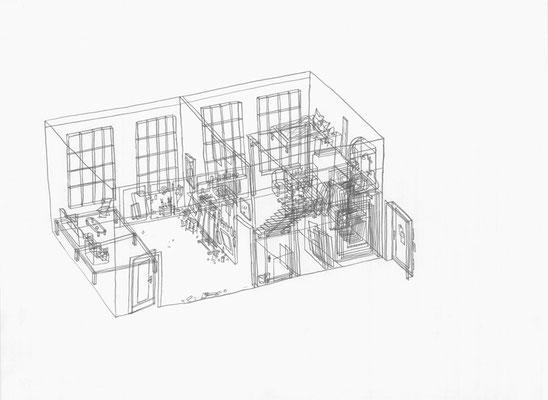 Atelier Robin . 2017 . Bleistift auf Papier . 30 x 40 cm . Privatsammlung