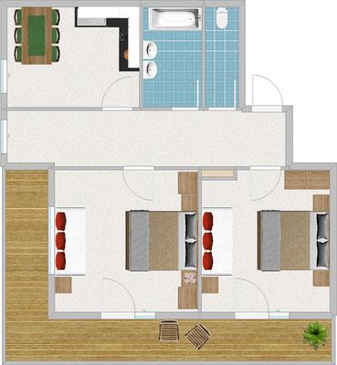 Appartement Typ 3, für 4-6 Pers., 3-Raum