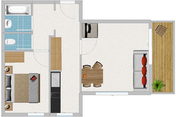 Appartement Typ 2, für 2-4 Pers., 2-Raum