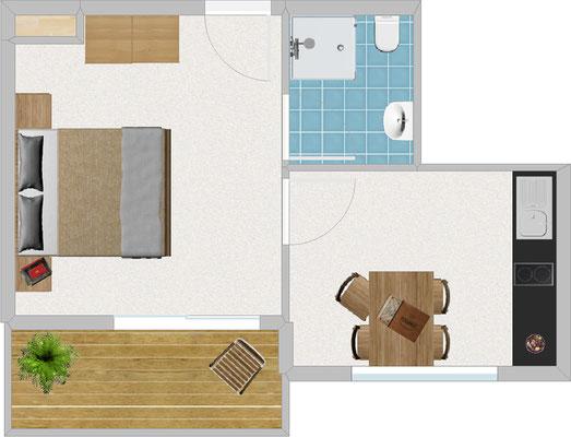 Appartement Typ 1, für 2-3 Pers., 1-Raum