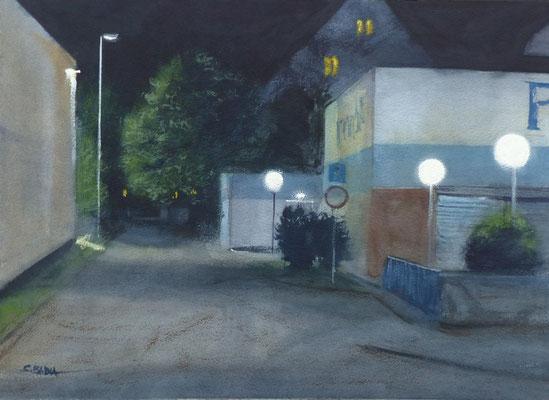 Impasse de la Hohwart, Nocturne - Aquarelle 48 x 34 cm