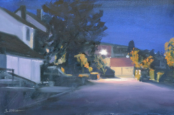 Baden-Baden - Eclairage de nuit - Huile sur papier - 41 x 27 cm