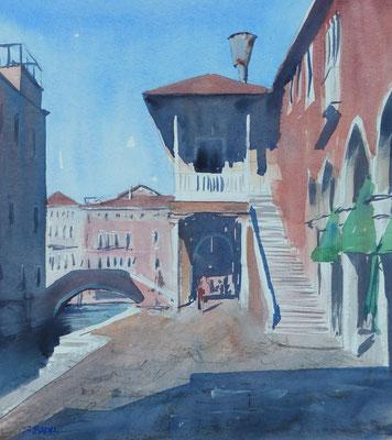 Venise - Une place - Aquarelle sur papier