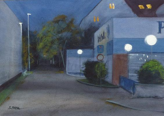Impasse de la Hohwart, Bleu - Aquarelle 48 x 34 cm
