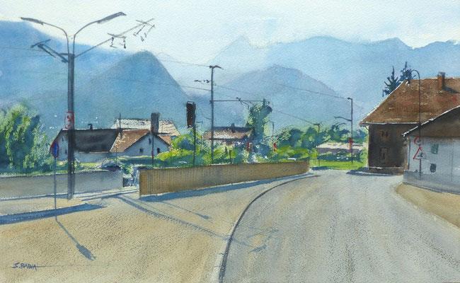 Alpes Autrichiennes - Aquarelle - 55 x 34 cm