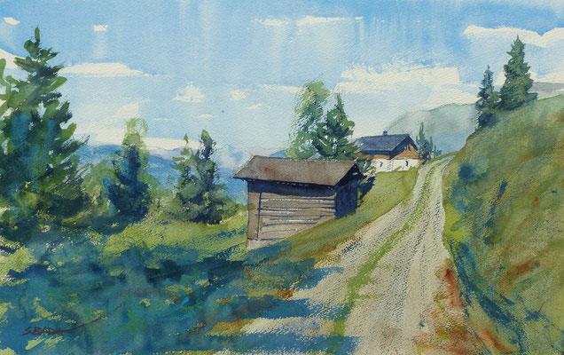 Paysage, Vorarlberg - Aquarelle 34 x 55 cm