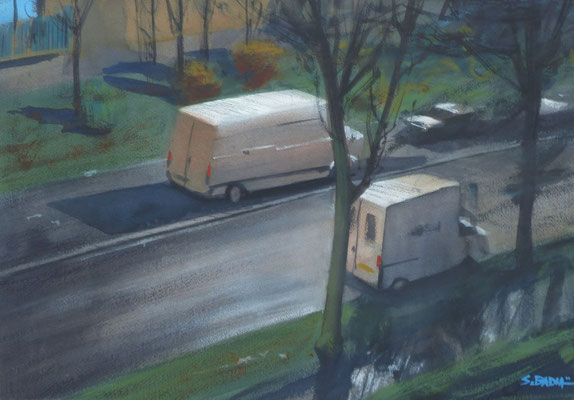 Rue de Lorraine - aquarelle sur papier - 55 x 38 cm
