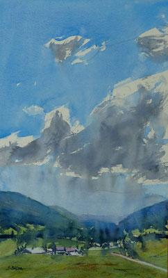 Un ciel - Alpes - Aquarelle sur papier